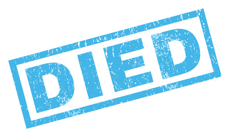 deathly: Died text rubber seal stamp watermark. Caption inside rectangular banner with grunge design and unclean texture. Inclined vector blue ink sign on a white background.