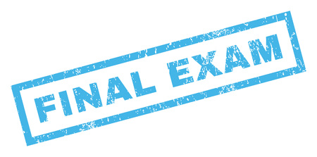 finale: Final Exam text rubber seal stamp watermark. Tag inside rectangular shape with grunge design and unclean texture. Inclined vector blue ink emblem on a white background.