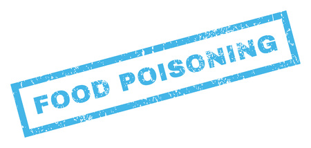 Food Poisoning text rubber seal stamp watermark. Caption inside rectangular banner with grunge design and unclean texture. Inclined vector blue ink sticker on a white background.