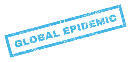 widespread: Global Epidemic text rubber seal stamp watermark. Caption inside rectangular banner with grunge design and scratched texture. Inclined vector blue ink sign on a white background. Illustration