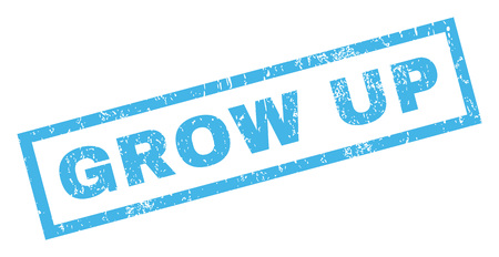 grow up: Grow Up text rubber seal stamp watermark. Caption inside rectangular banner with grunge design and dirty texture. Inclined vector blue ink emblem on a white background.