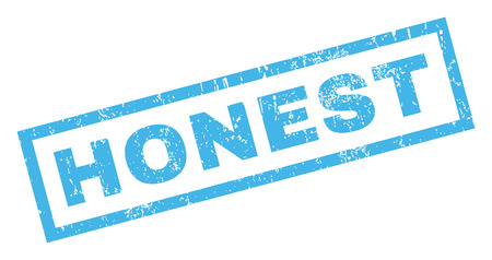 honest: Honest text rubber seal stamp watermark. Tag inside rectangular banner with grunge design and dust texture. Inclined vector blue ink sticker on a white background. Illustration