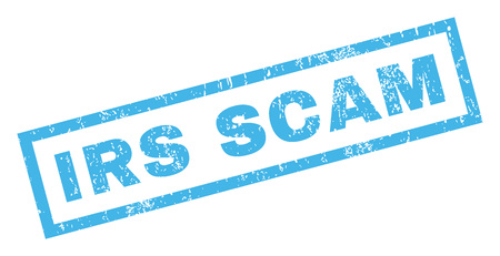 irs: Irs Scam text rubber seal stamp watermark. Caption inside rectangular shape with grunge design and dust texture. Inclined vector blue ink emblem on a white background.