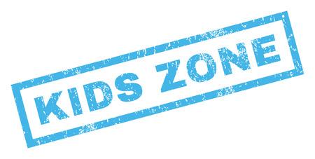 Selo de borracha de texto de zona de crianças marca d'água de carimbo. Legenda dentro de forma retangular com design grunge e textura impura. Etiqueta inclinada da tinta azul do vetor em um fundo branco.