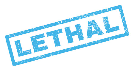 lethal: Lethal text rubber seal stamp watermark. Caption inside rectangular shape with grunge design and dirty texture. Inclined vector blue ink sign on a white background.