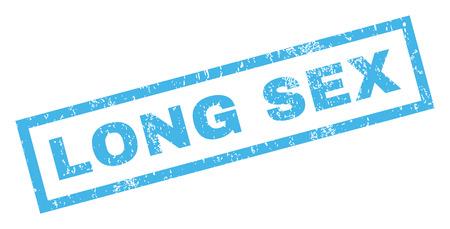 Lange Sex Text Gummidichtung Stempel Wasserzeichen. Beschriftung innerhalb der rechteckigen Fahne mit Schmutzdesign und schmutziger Beschaffenheit. Geneigter blauer Tinteaufkleber des Vektors auf einem weißen Hintergrund.