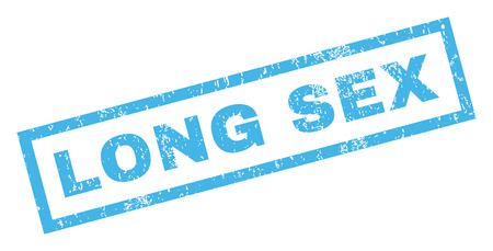 Long Sex text rubber seal stamp watermark. Caption inside rectangular banner with grunge design and dirty texture. Inclined vector blue ink sticker on a white background.