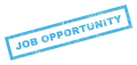 job opportunity: Job Opportunity text rubber seal stamp watermark. Caption inside rectangular shape with grunge design and scratched texture. Inclined vector blue ink sign on a white background.