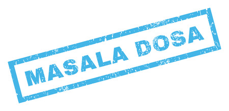 Masala Dosa text rubber seal stamp watermark. Tag inside rectangular banner with grunge design and dirty texture. Inclined vector blue ink sticker on a white background.