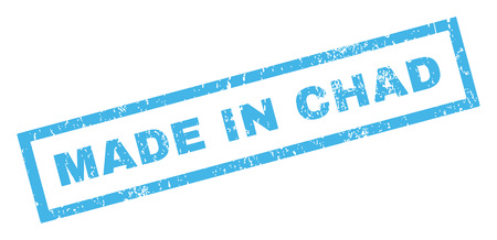 Made In Chad text rubber seal stamp watermark. Caption inside rectangular shape with grunge design and dust texture. Inclined vector blue ink sticker on a white background.