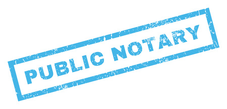 notary: Public Notary text rubber seal stamp watermark. Tag inside rectangular banner with grunge design and dust texture. Inclined vector blue ink sticker on a white background. Illustration