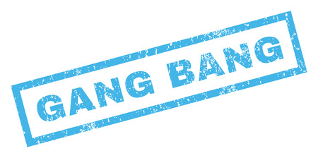 de maras: Gang Bang text rubber seal stamp watermark. Caption inside rectangular banner with grunge design and unclean texture. Inclined vector blue ink sign on a white background.
