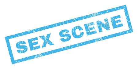 Sexszene Text Gummidichtung Stempel Wasserzeichen. Beschriftung innerhalb der rechteckigen Fahne mit Schmutzentwurf und unsauberer Beschaffenheit. Geneigter blauer Tinteaufkleber des Vektors auf einem weißen Hintergrund. Vektorgrafik