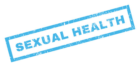 sexual health: Sexual Health text rubber seal stamp watermark. Caption inside rectangular shape with grunge design and dust texture. Inclined vector blue ink sign on a white background.