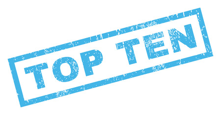 top ten: Top Ten text rubber seal stamp watermark. Caption inside rectangular shape with grunge design and scratched texture. Inclined vector blue ink emblem on a white background. Illustration