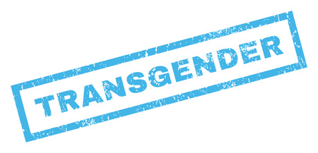 sexual orientation: Transgender text rubber seal stamp watermark. Tag inside rectangular banner with grunge design and dirty texture. Inclined vector blue ink emblem on a white background.