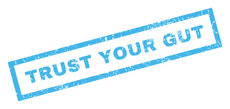 Trust Your Gut text rubber seal stamp watermark. Tag inside rectangular banner with grunge design and dirty texture. Inclined vector blue ink emblem on a white background.