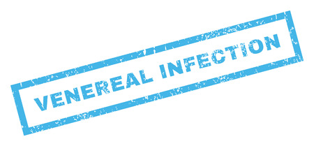 venereal: Venereal Infection text rubber seal stamp watermark. Caption inside rectangular banner with grunge design and dust texture. Inclined vector blue ink sticker on a white background. Illustration