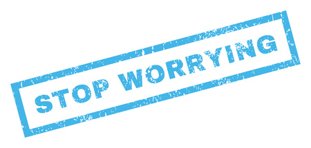 worrying: Stop Worrying text rubber seal stamp watermark. Caption inside rectangular shape with grunge design and unclean texture. Inclined vector blue ink emblem on a white background.