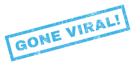 gone: Gone Viral! text rubber seal stamp watermark. Caption inside rectangular banner with grunge design and scratched texture. Inclined vector blue ink emblem on a white background.