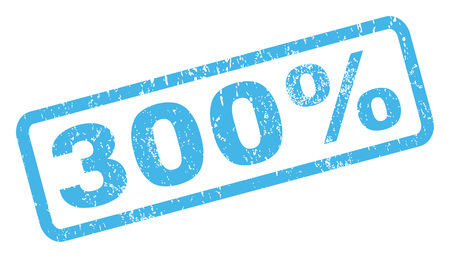 300 Percent text rubber seal stamp watermark. Caption inside rectangular banner with grunge design and dirty texture. Inclined vector blue ink sticker on a white background.