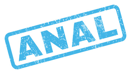 anal: Anal text rubber seal stamp watermark. Tag inside rectangular banner with grunge design and dust texture. Inclined vector blue ink emblem on a white background.