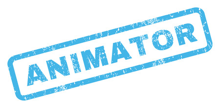 Animator text rubber seal stamp watermark. Caption inside rectangular shape with grunge design and unclean texture. Inclined vector blue ink sign on a white background.