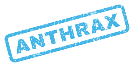quarantine: Anthrax text rubber seal stamp watermark. Caption inside rectangular shape with grunge design and dust texture. Inclined vector blue ink sticker on a white background.