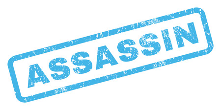 assassin: Assassin text rubber seal stamp watermark. Caption inside rectangular banner with grunge design and dust texture. Inclined vector blue ink emblem on a white background.