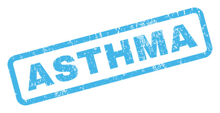 Asthma text rubber seal stamp watermark. Caption inside rectangular banner with grunge design and scratched texture. Inclined vector blue ink sign on a white background.
