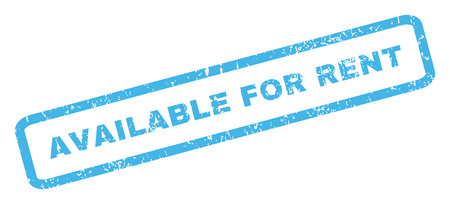 achievable: Available For Rent text rubber seal stamp watermark. Caption inside rectangular shape with grunge design and dust texture. Inclined vector blue ink emblem on a white background. Illustration