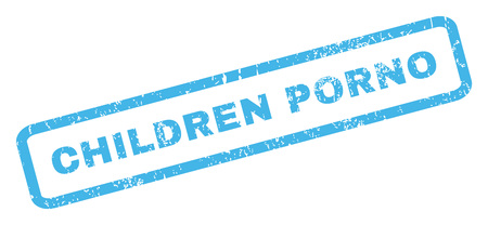 Children Porno text rubber seal stamp watermark. Caption inside rectangular shape with grunge design and unclean texture. Inclined vector blue ink emblem on a white background.