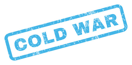 cold war: Cold War text rubber seal stamp watermark. Tag inside rectangular shape with grunge design and dirty texture. Inclined vector blue ink sign on a white background.