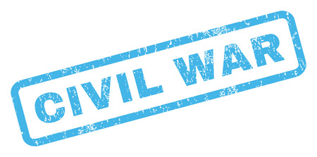 civil war: Civil War text rubber seal stamp watermark. Tag inside rectangular banner with grunge design and dirty texture. Inclined vector blue ink emblem on a white background.