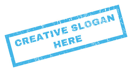 axiom: Creative Slogan Here text rubber seal stamp watermark. Tag inside rectangular banner with grunge design and dirty texture. Inclined vector blue ink emblem on a white background. Illustration