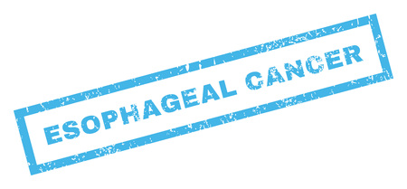 esophageal: Esophageal Cancer text rubber seal stamp watermark. Caption inside rectangular shape with grunge design and unclean texture. Inclined vector blue ink emblem on a white background.