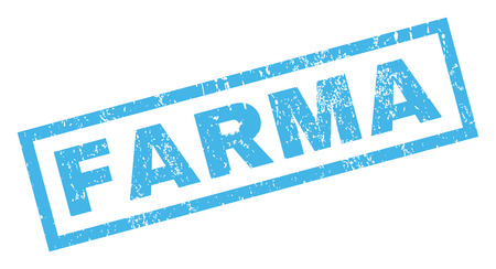 Farma text rubber seal stamp watermark. Caption inside rectangular shape with grunge design and scratched texture. Inclined vector blue ink emblem on a white background. Ilustracja