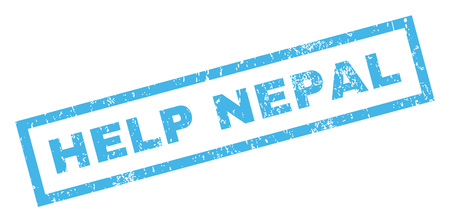 disaster relief: Help Nepal text rubber seal stamp watermark. Caption inside rectangular banner with grunge design and unclean texture. Inclined vector blue ink sticker on a white background.