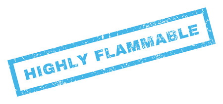 Highly Flammable text rubber seal stamp watermark. Caption inside rectangular shape with grunge design and dirty texture. Inclined vector blue ink emblem on a white background. Illustration