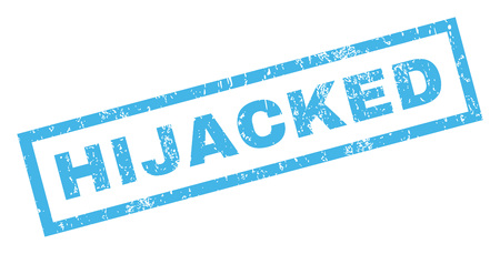 hijacked: Hijacked text rubber seal stamp watermark. Caption inside rectangular banner with grunge design and dirty texture. Inclined vector blue ink sign on a white background. Illustration