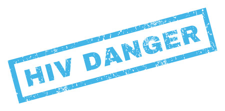 quarantine: HIV Danger text rubber seal stamp watermark. Tag inside rectangular shape with grunge design and unclean texture. Inclined vector blue ink sticker on a white background.