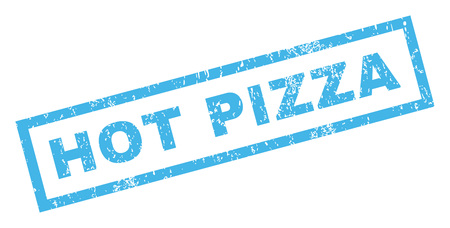 woodfired: Hot Pizza text rubber seal stamp watermark. Tag inside rectangular banner with grunge design and unclean texture. Inclined vector blue ink sticker on a white background. Illustration