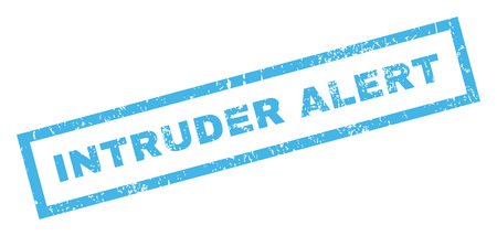 intrude: Intruder Alert text rubber seal stamp watermark. Tag inside rectangular shape with grunge design and scratched texture. Inclined vector blue ink sticker on a white background.