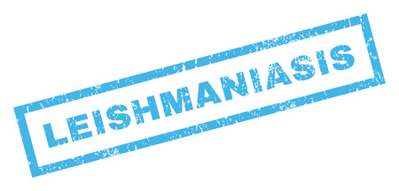parasitic infestation: Leishmaniasis text rubber seal stamp watermark. Caption inside rectangular banner with grunge design and dirty texture. Inclined vector blue ink sign on a white background.