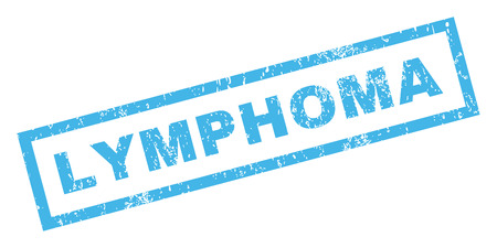 tumors: Lymphoma text rubber seal stamp watermark. Caption inside rectangular shape with grunge design and scratched texture. Inclined vector blue ink emblem on a white background. Illustration