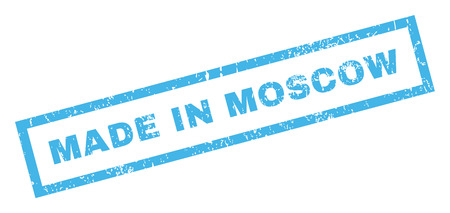 made russia: Made In Moscow text rubber seal stamp watermark. Caption inside rectangular shape with grunge design and unclean texture. Inclined vector blue ink emblem on a white background.