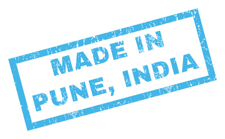 Made In Pune, India text rubber seal stamp watermark. Caption inside rectangular banner with grunge design and dirty texture. Inclined vector blue ink sticker on a white background. Ilustração