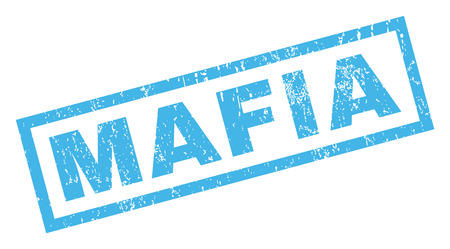 Mafia text rubber seal stamp watermark. Tag inside rectangular banner with grunge design and dirty texture. Inclined vector blue ink emblem on a white background. Illustration