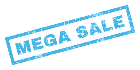 mega sale: Mega Sale text rubber seal stamp watermark. Caption inside rectangular banner with grunge design and unclean texture. Inclined vector blue ink sign on a white background.