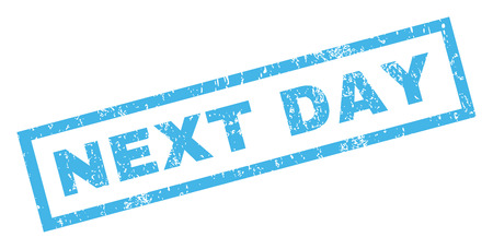 next day: Next Day text rubber seal stamp watermark. Tag inside rectangular banner with grunge design and dirty texture. Inclined vector blue ink sign on a white background. Illustration